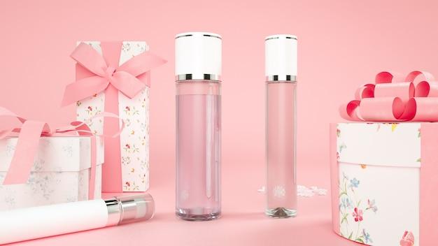 3d-weergave van geschenkdoos en cosmetische fles op roze achtergrond voor productweergave