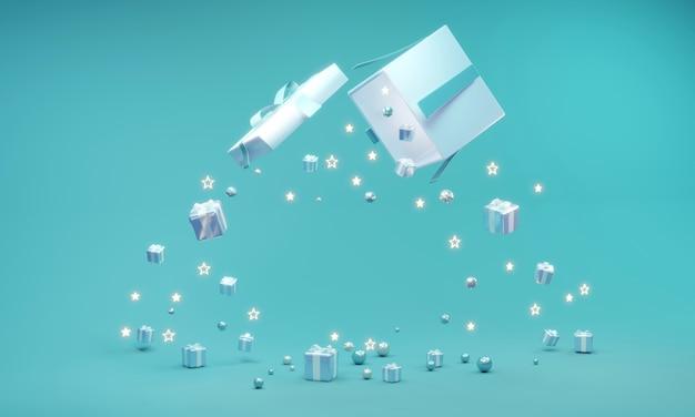 3d-weergave van geschenkdoos open met ruimte voor tekst en cadeau vallen in blauw thema op de achtergrond. 3d-weergave. 3d illustratie.