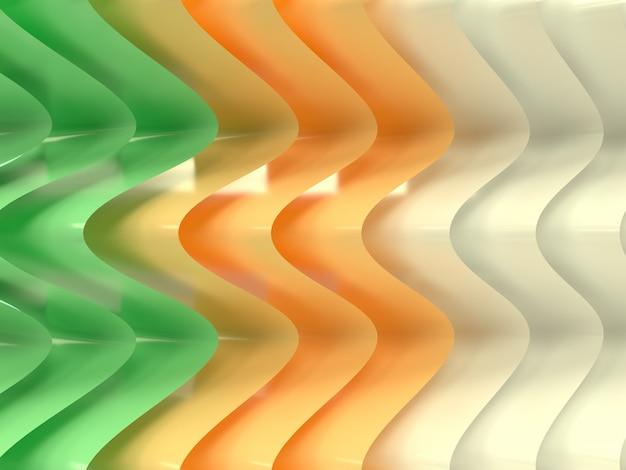 3d-weergave van glanzend gebogen oppervlakken