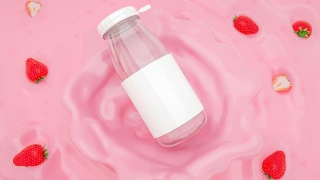 3d-weergave van glazen fles voor productvertoning
