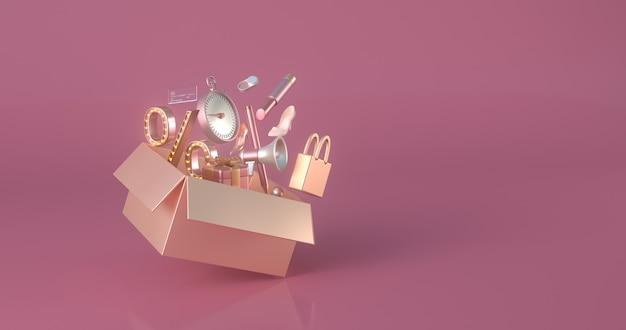 3d-weergave van gouden doos.