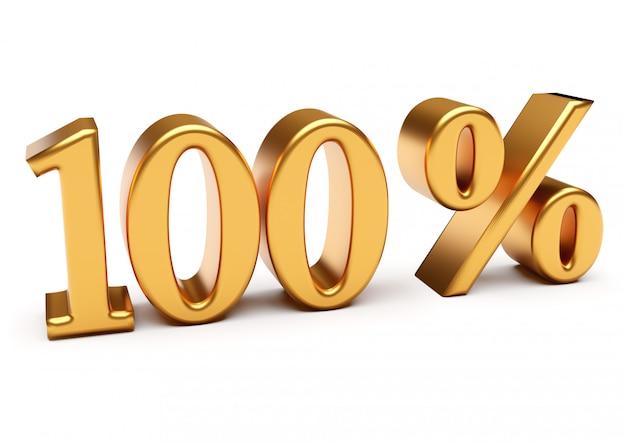 3d-weergave van gouden honderd procent