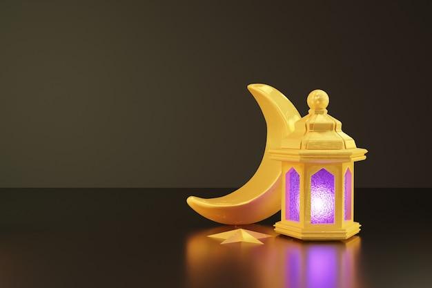 3d-weergave van gouden lantaarn en wassende maan voor ramadan banner achtergrond
