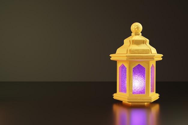 3d-weergave van gouden lantaarn voor ramadan banner achtergrond