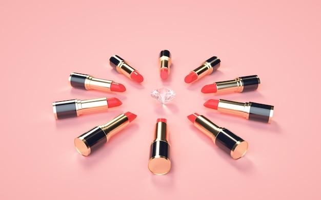 3d-weergave van gouden lippenstift en diamanten op een roze voor weergave mock up