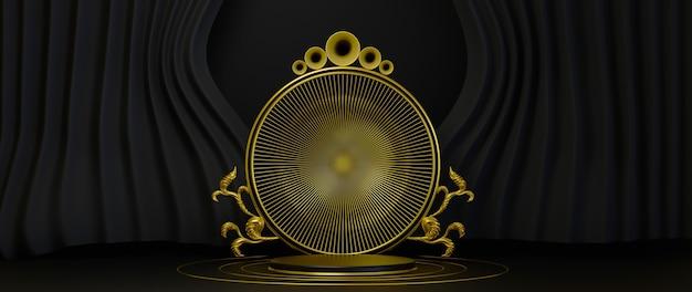 3d-weergave van gouden luxe podium op zwarte achtergrond