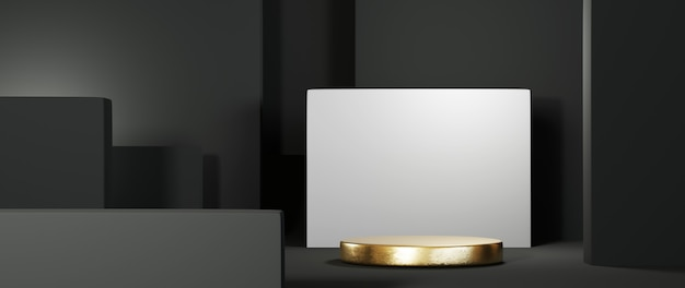 3d-weergave van gouden podium op de achtergrond van een zwarte kamer. mockup voor showproduct.