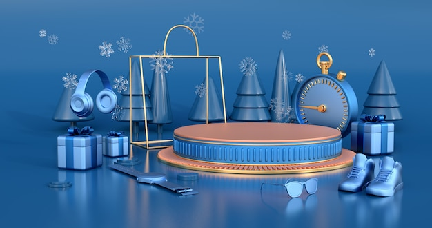 3d-weergave van gouden podium.