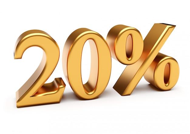 3d-weergave van gouden twintig procent