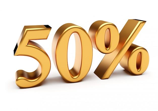 3d-weergave van gouden vijftig procent