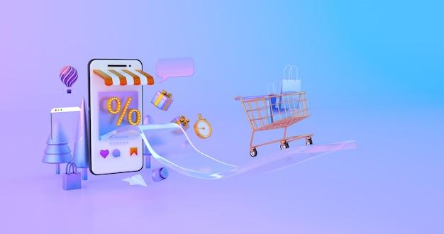 3d-weergave van gouden winkelwagentje met smartphone.