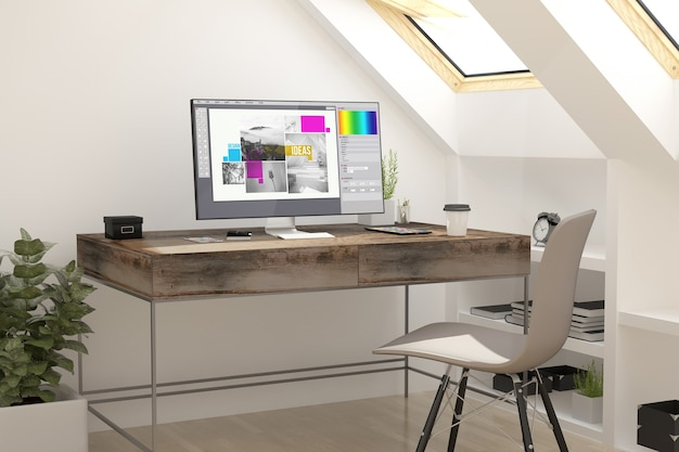 3d-weergave van grafisch ontwerp van de zolder werkplek