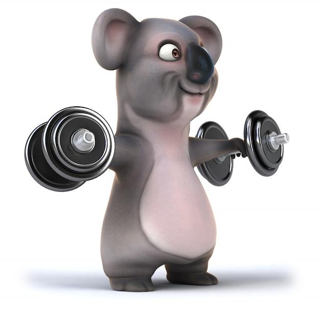 3d-weergave van grappige koala