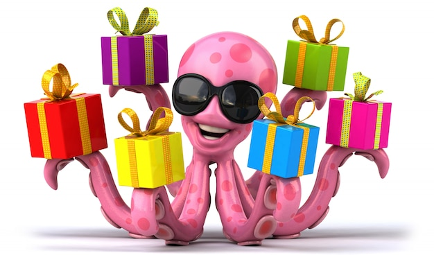 3d-weergave van grappige octopus
