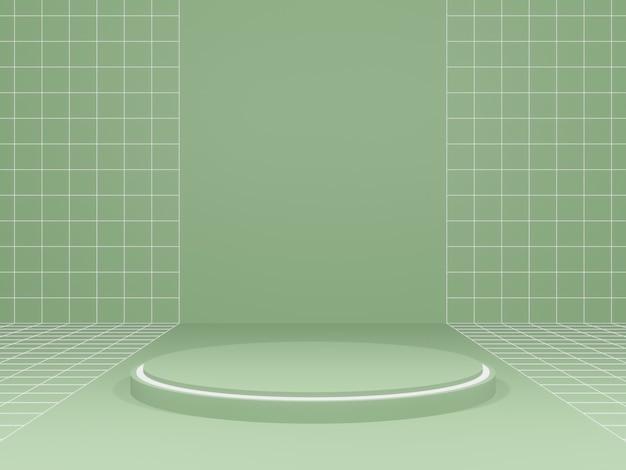 3d-weergave van groene geometrische productstandaard