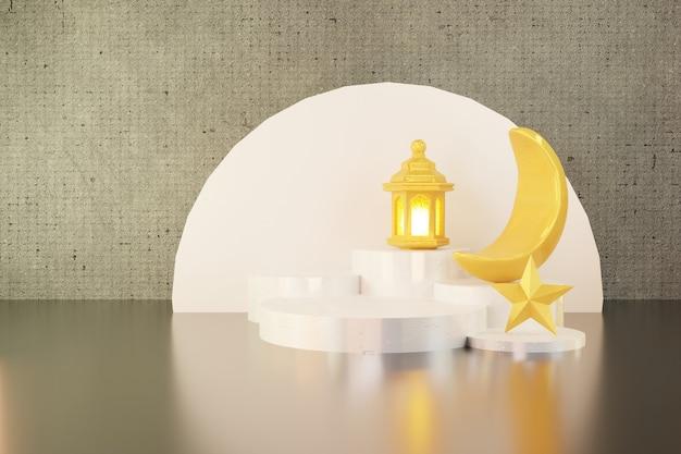 3d-weergave van halve maan en gouden lantaarn op het witte podium voor ramadan banner achtergrond