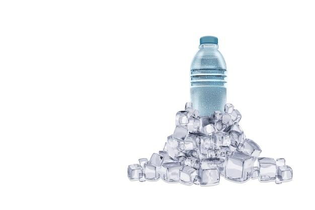 3d-weergave van helder water met huisdier waterfles geïsoleerd op wit