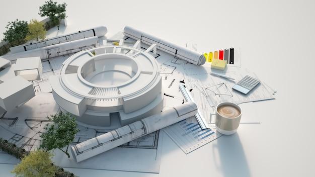 3d-weergave van het architectuurmodel van een cirkelvormig gebouw met bomen bovenop blauwdrukken