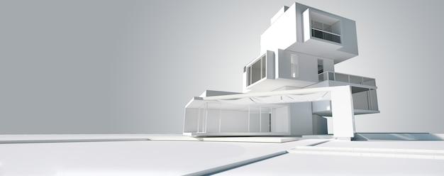 3d-weergave van het architectuurmodel van een modern huis gebouwd op verschillende onafhankelijke niveaus