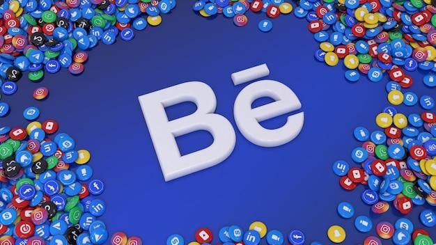 3d-weergave van het behance-logo omgeven door veel van de populairste glanzende pillen voor sociale netwerken