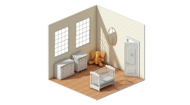 3d-weergave van het concept van de lay-out van de baby slaapkamer