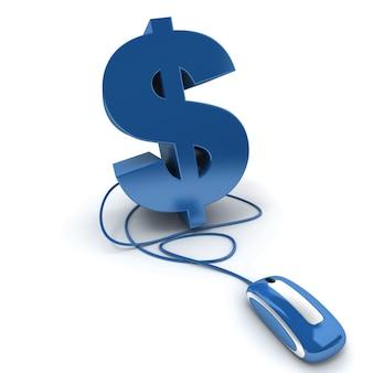 3d-weergave van het dollarteken dat is aangesloten op een computermuis