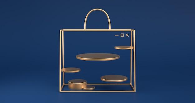 3d-weergave van het gouden tasoverzicht.