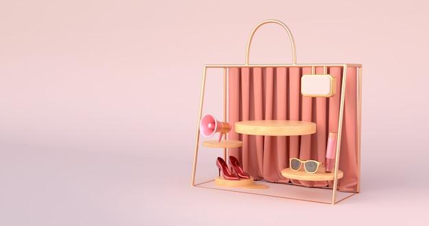 3d-weergave van het houten podium en gouden tas overzicht.
