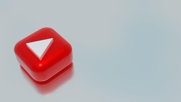 3d-weergave van het pictogram van de knop afspelen