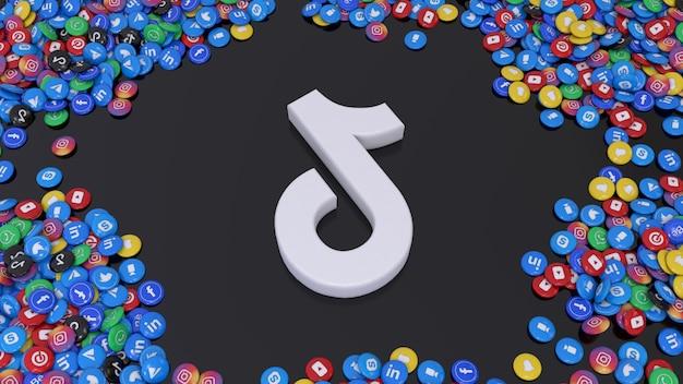 3d-weergave van het tik tok-logo omgeven door veel van de populairste glanzende pillen voor sociale netwerken