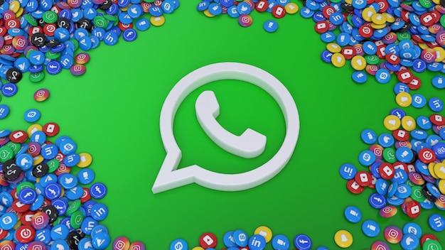 3d-weergave van het whatsapp-logo omringd door veel van de populairste glanzende pillen voor sociale netwerken