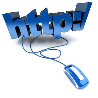 3d-weergave van het woord http: / aangesloten op een computermuis