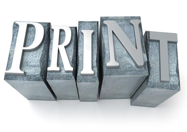 3d-weergave van het woord print geschreven in gedrukte briefgevallen