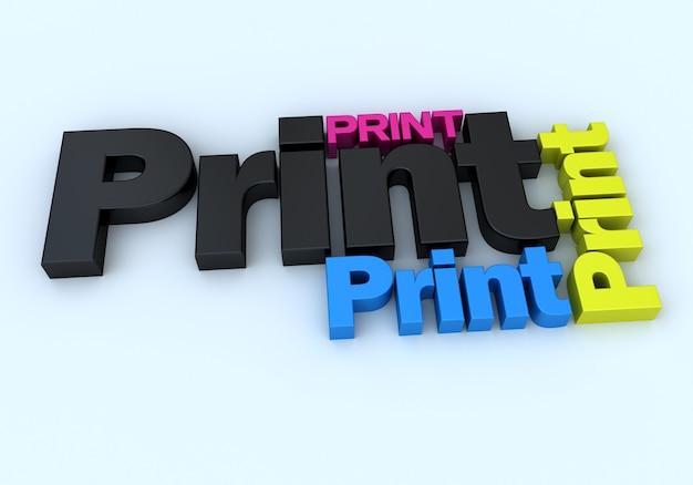 3d-weergave van het woord print in verschillende kleuren en maten