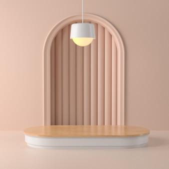 3d-weergave van hout podium en abstract geometrisch.