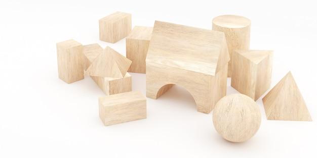 3d-weergave van houten blokken.
