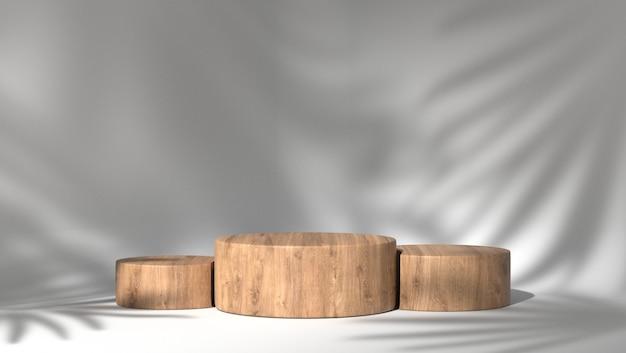 3d-weergave van houten podia