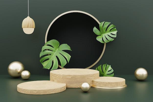 3d-weergave van houten podium voor productvertoning met monsterabladeren.