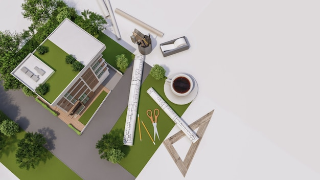 3d-weergave van huismodel illustratie