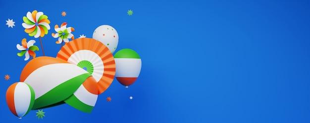 3d-weergave van indiase driekleurige tulband met papieren badge of bloem, ballonnen nationale vlaggen, pinwheels en kopie ruimte op blauwe achtergrond.