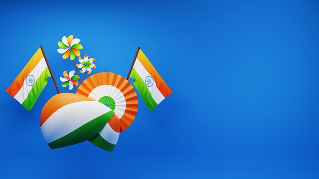 3d-weergave van indiase driekleurige tulband met papieren badge of bloem, nationale vlaggen, pinwheels en kopie ruimte op blauwe achtergrond.