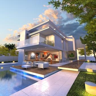 3d-weergave van indrukwekkende villa met zwembad