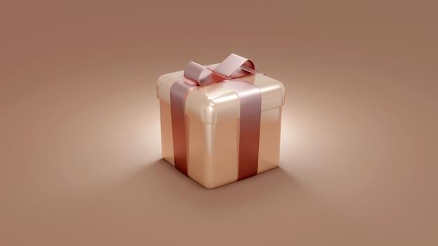 3d-weergave van ingepakte roze gouden geschenkdoos op achtergrondconcept van vakantie- en verjaardagscadeau