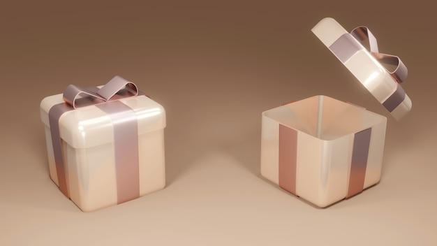 3d-weergave van ingepakte roze gouden geschenkdozen op achtergrondconcept van vakantie- en verjaardagscadeaus