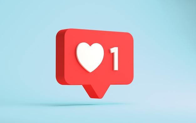 3d-weergave van instagram één zoals drijvende melding geïsoleerd op een blauwe muur