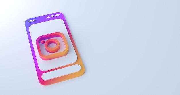 3d-weergave van instagram-pictogram.