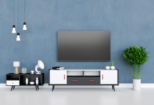 3d-weergave van interieur moderne woonkamer met smart tv, kast en decoraties.