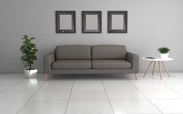 3d-weergave van interieur van moderne woonkamer met sofa - bank en tafel