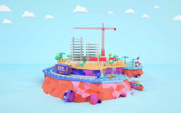 3d-weergave van isometrische fabrieksgebouw op een eiland