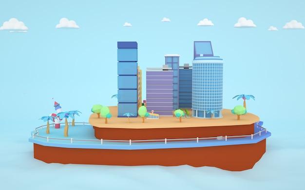 3d-weergave van isometrische stadsappartement op het eiland